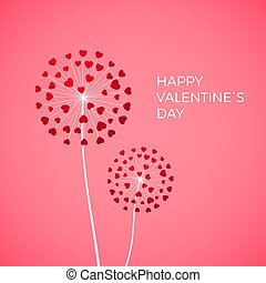 Couple of dandelion with red hearts. Happy Valentine day greeting card on pink background. White blowball with red heart symbol of love. Vector