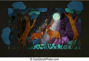 Couple of deers in front of night forest. Fairy tale illustration or poster design.