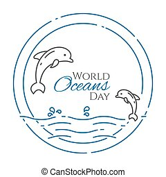 Couple of dolphins jumping above water - line style world oceans day banner isolated on white background.