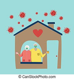couple of elderly person with hygienic mask make self isolation with safety at home to avoid spreading coronavirus pathogen during the covid-19 epidemic isolated on blue background