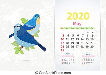 couple of fancy pretty birds on branch tree. calendar 2020 design, may