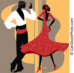 couple of flamenco dancer - on abstract background is couple...
