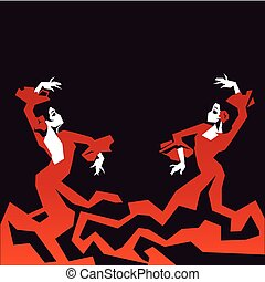 couple of Flamenco Dancer in expressive impressive pose. Minimalistic graphic in laconic edged geometric shapes.
