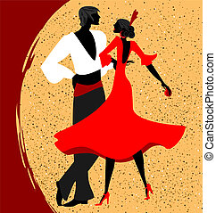couple of flamenco dancers - abstract red-beige background...