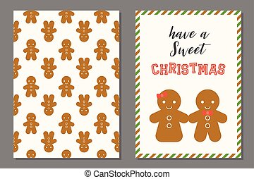couple of Ginger bread man Christmas greeting card with...
