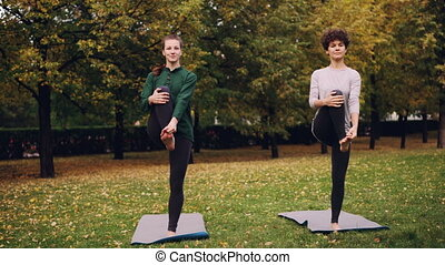 Couple of girls are doing yoga in park practising balancing...