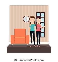 couple of girls in the livingroom