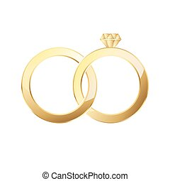 Couple of gold wedding rings isolated. Vector illustration