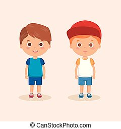 couple of little boys characters vector illustration design