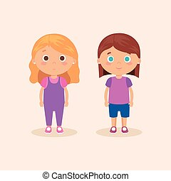 couple of little girls characters vector illustration design