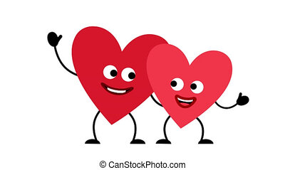 Couple of Love happy heart characters man and woman