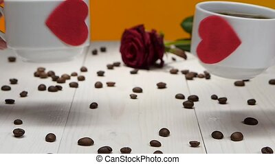 Couple of lovers cups of coffee. Romantic for Valentine Day