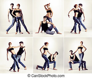 Couple of modern ballet dancers in jeans. Collection.