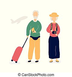 Couple of old people waiting for flight in airport