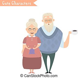 Lovely elderly couple - Couple of older people. Grandmother...