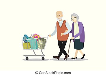 Couple of older people with shopping trolley.