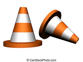 Couple of orange traffic cones