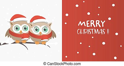 Couple of owls with Santa Claus hat on a branch in a snowy day