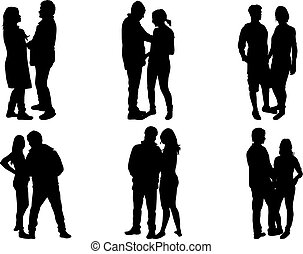 Couple of people , black silhouettes.