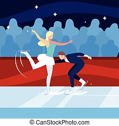 couple of people practicing figure skating , ice sport