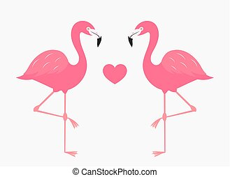 Couple of pink flamingos in love