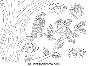 couple of pretty birds on tree in sunny day for your coloring pa