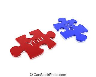 couple of puzzle isolated on white background