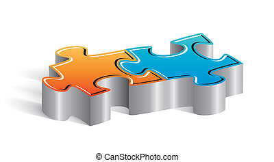 Couple of puzzle pieces - Beautiful concept couple of puzzle...