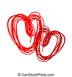 Couple of red hearts for your design