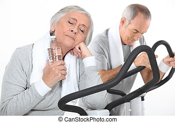couple of seniors having exercise