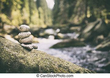 couple of stones (pyramid) in Vydra river