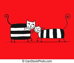 Couple of striped cats, sketch for your design