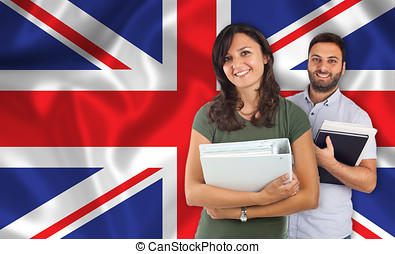 Couple of students over English flag - Couple of young...