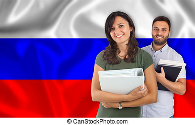 Couple of students over russian flag - Couple of young...