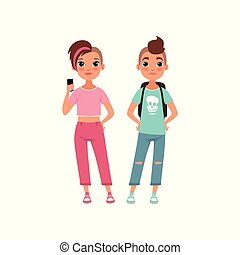 Couple of teenagers, schoolboy and schoolgirl, stage of growing up concept vector Illustration on a white background