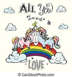 Couple of unicorns standing on rainbow with inscription