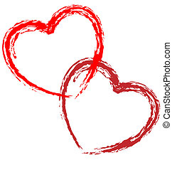 Couple of vector artistic hearts on white background.