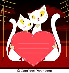 Couple of white cats and red heart, greeting card or banner,...
