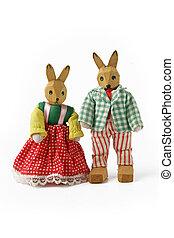 Couple of wooden rabbit toys