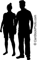 Couple of young people, black silhouette.