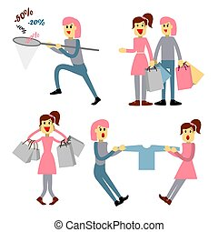 Couple of young people shopping. Young woman with packages. Girl with a net catches discounts.