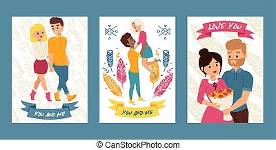 Couple of young people walking together set of cards, posters vector illustration. You and me. Love you. Boy holding girlfriend. Man presenting bunch of flowers to woman.