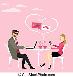 Couple office workers or business people drinking coffee and working on laptop