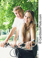 couple on a bicycle