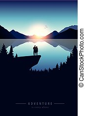 couple on a cliff adventure in nature by the lake with mountain view