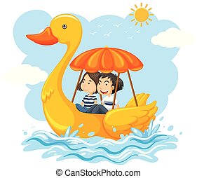 Couple on a duck boat