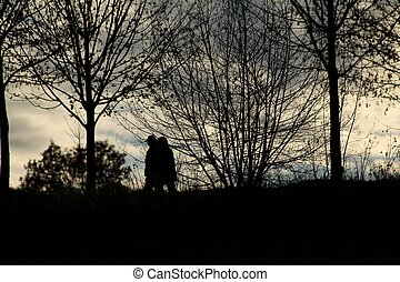 couple on a evening walk