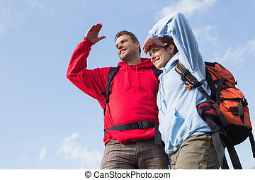Couple on a hike looking ahead
