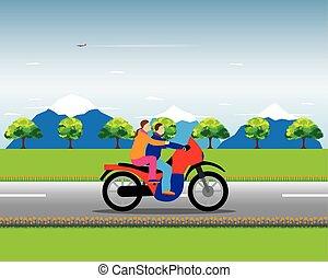 Couple on a motorbike.