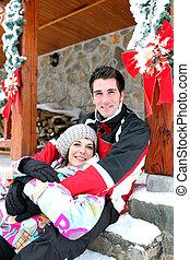 Couple on a romantic ski trip at Christmas